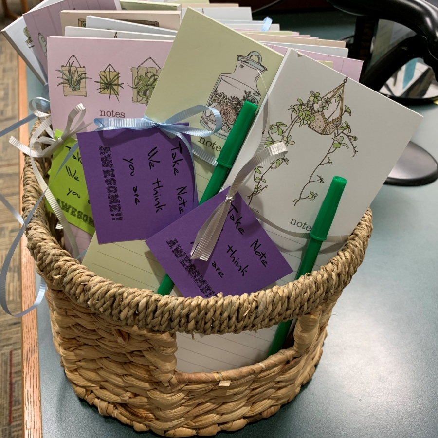 basket of notepads