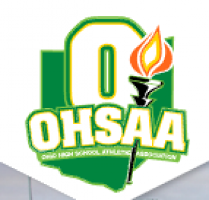 green ohsaa letters with a flame