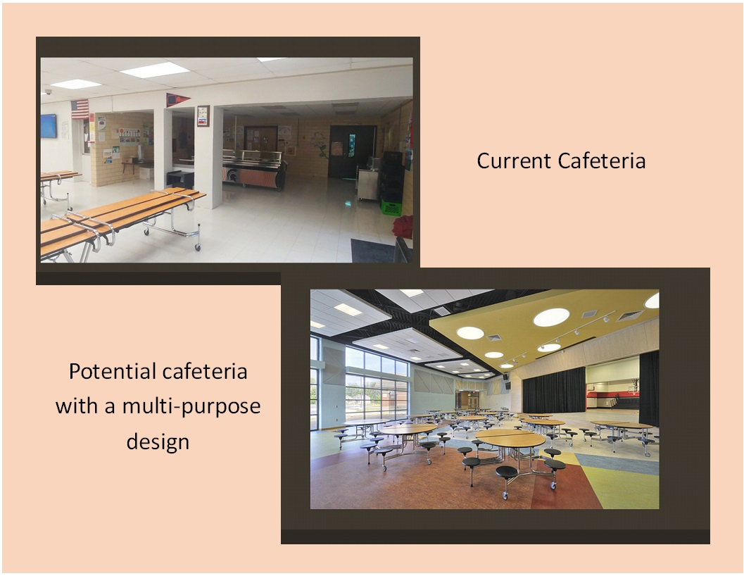 cafeteria projected before and after