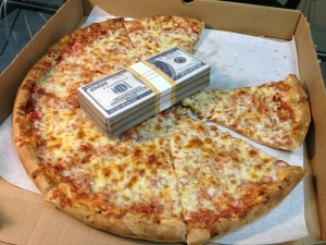 pizza with money