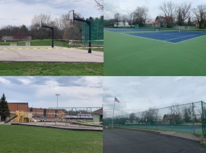 image collage with playground green space
