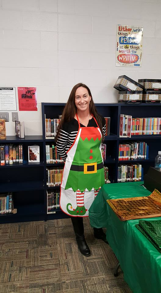 woman with elf apron on