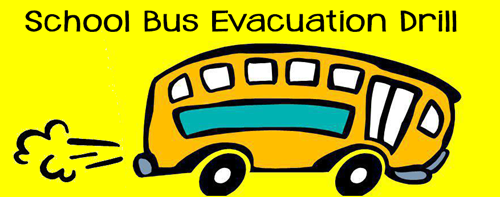 yellow bus with evacuation drill on it