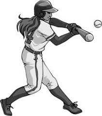 black and white image of a softball player