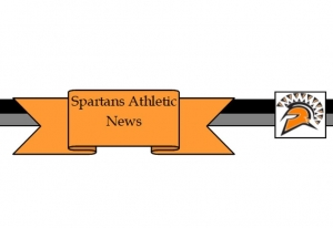 scroll with a spartan head and orange ribbon