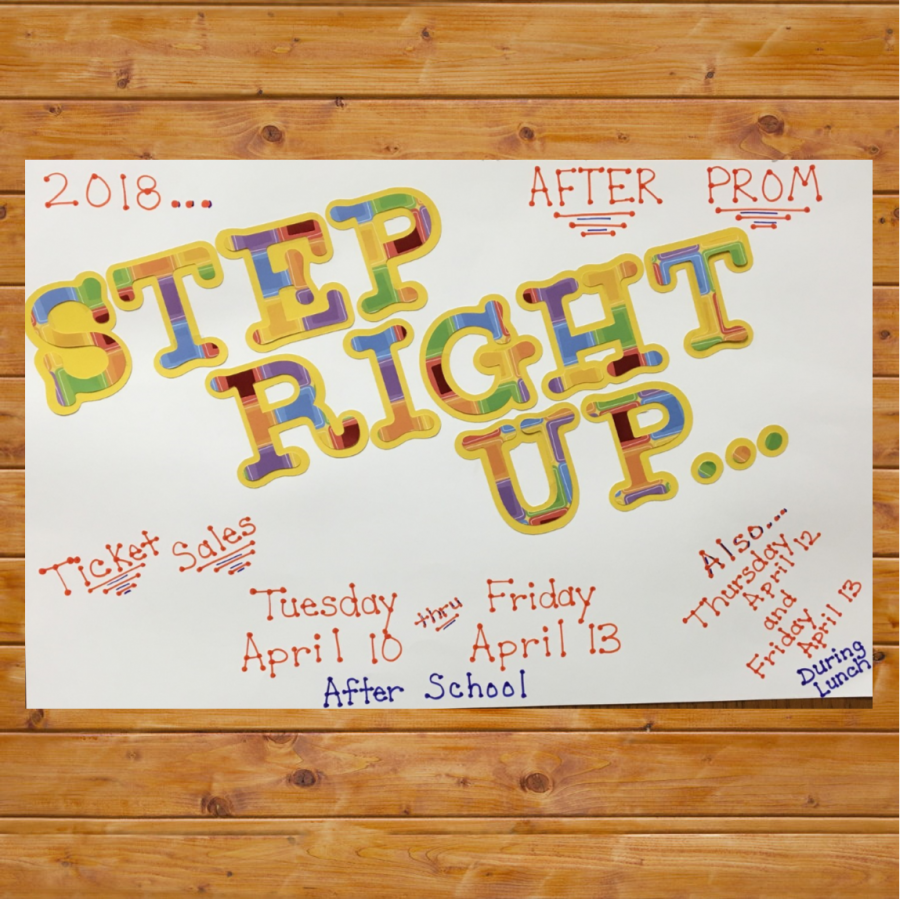 step right up poster image on wood background