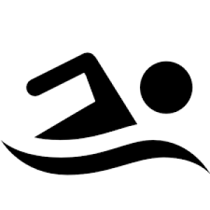 swimmer in black and white outline