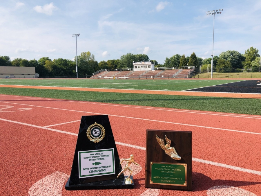 two trophies on a track