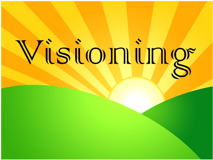 yellow sun, green hill, and the word visioning