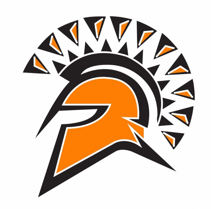 spartan head in orange and black