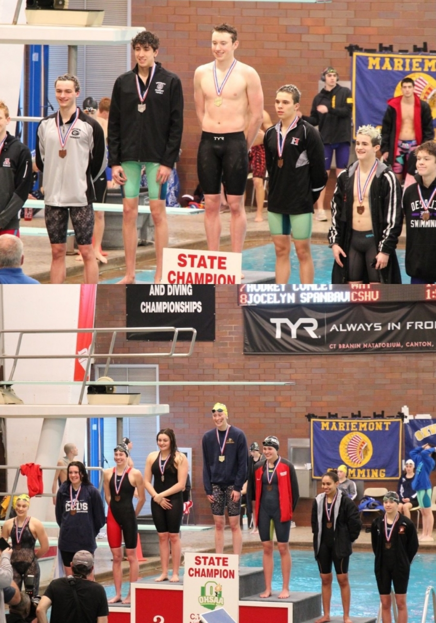 swimming podiums with winners