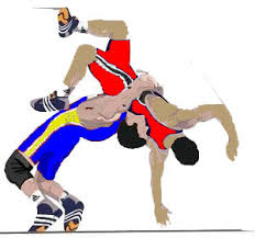 two wrestlers in a battle