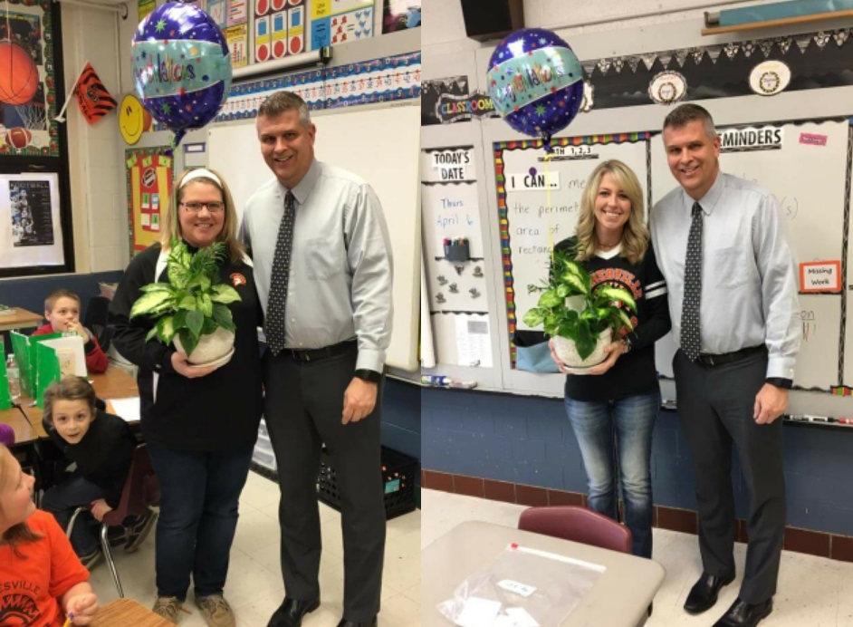 two images of a man posed with a teacher holding flowers