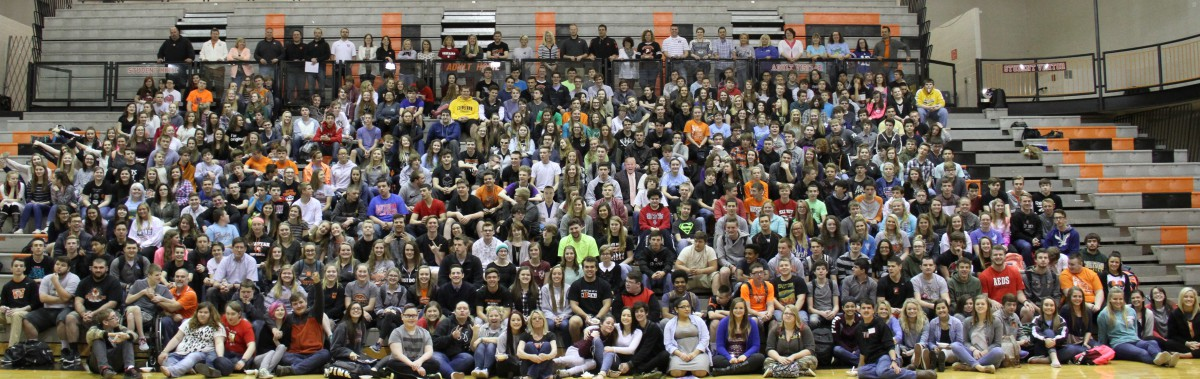 image of bleachers full of students
