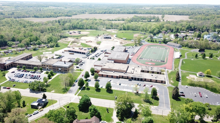 image of a school property from the air