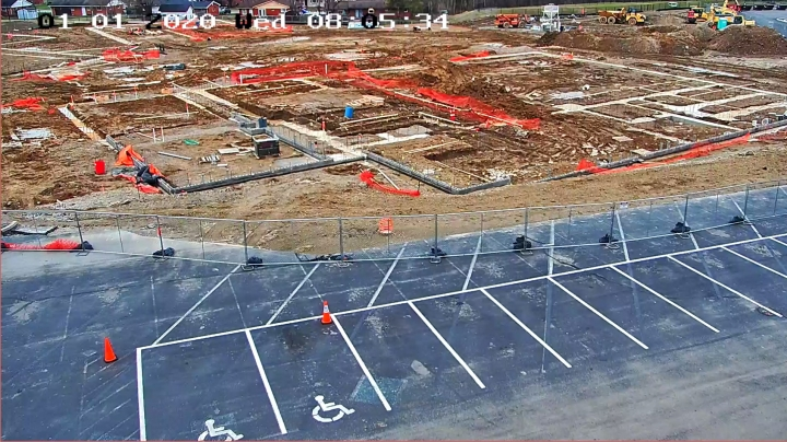 construction area and a parking lot