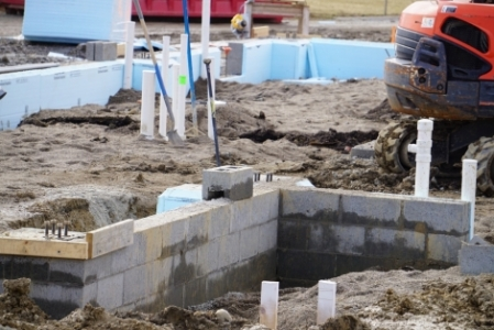 barn foundation with plumbing lines