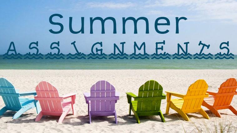 beach chairs with the word summer assingments above